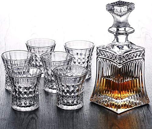 Decantador 5pc Crystal Whiskey Decanter & Whiskey Glasses Set Crystal Decanter Set con 4 gafas en una caja de regalo elegante única, 100% plomo libre lavavajillas seguro Decantador de vino de cristal