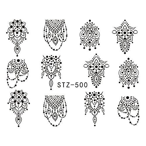 EROSPA® Nailart Nail-Tattoo Henna Motiv - Nagel Sticker - Aufkleber - 12 Motive - Selbstklebend