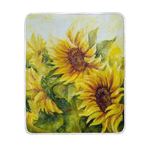 ALARGE Flower Sunny Sunflower Manta suave de microfibra de regalo manta de 50 x 60 pulgadas ligero cálido sofá cama sofá cama tumbona al aire libre