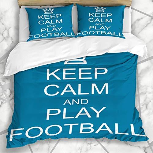 Dodunstyle Conjuntos de Fundas nórdicas Crown Keep Calm Play Fútbol Azul Blanco Ropa de Cama de Microfibra Tamaño Doble con 2 Fundas de Almohada Cuidado fácil Antialérgico Suave Suave
