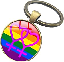 MISWSU 3 Pack Gay & Lesbian Pride Rainbow LGBT LGBTQ Charm Round Key Chain