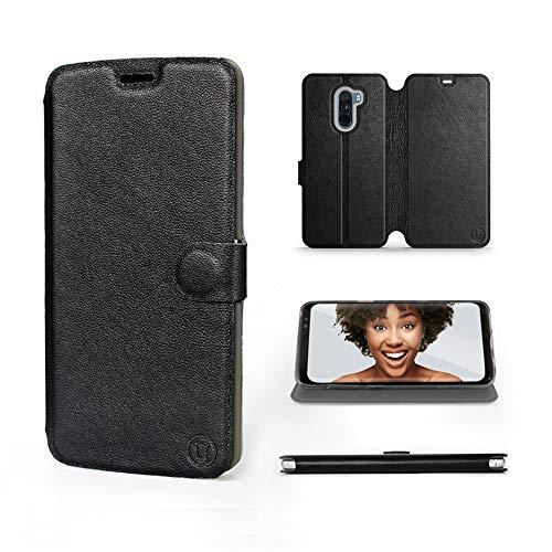 Mobiwear   Echt Lederhülle   Kompatibel mit Xiaomi Pocophone F1, Made in EU handyhülle, Slim Leather Hülle, Premium Flip Schutzhülle, Transparent TPU Silicon, Book Style, Tasche - Schwarzes Leder