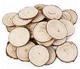 Omeny - 25 discos cortados de troncos de madera natural con corteza, 5 cm, para decoración de mesa