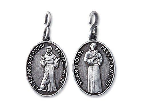 Religious Gifts Collar de medalla de San Antonio San Francisco de 1 1/4 pulgadas de peltre, católico cristiano para mascotas