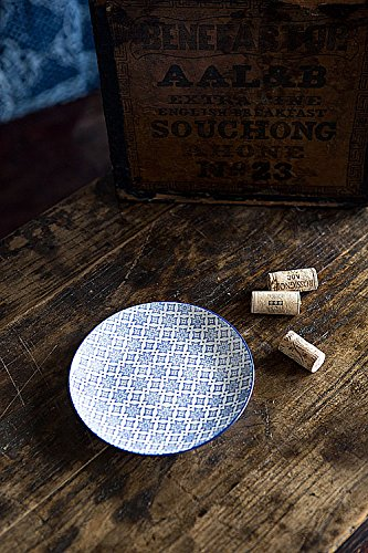 Vagabond Vintage, Set of Four Small Round Plates with Blue and White Decorations in Cross Pattern