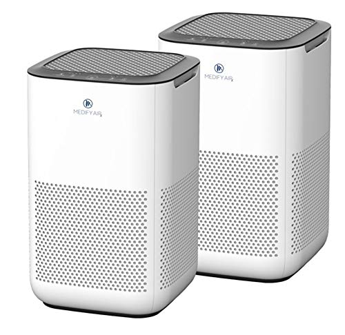 Medify MA-15 Air Purifier with H13 HEPA filter - a higher grade of HEPA | NEW MODEL JULY 2020 | '3-in-1' Filters | 99.9% removal in a Modern Design - White 2-Pack