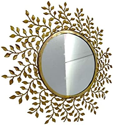 Rewari Handicrafts Handcrafted Designer Brass Leaves Wall Mirror for Home I Office I Golden Original Brass Colour
