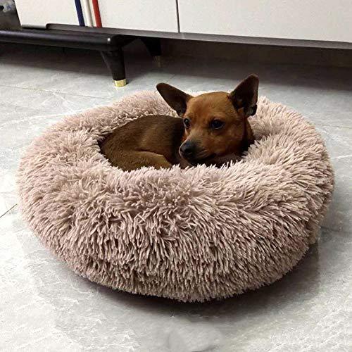 Rundes Hundebett aus Plüsch, Donut-Design, für Hunde und Katzen, groß, orthopädisch, beruhigendes Bett, Schlafkorb, weiches warmes Kunstfell, Hundekissen, Haustier-Sofa-Bett, Kissen, waschbar