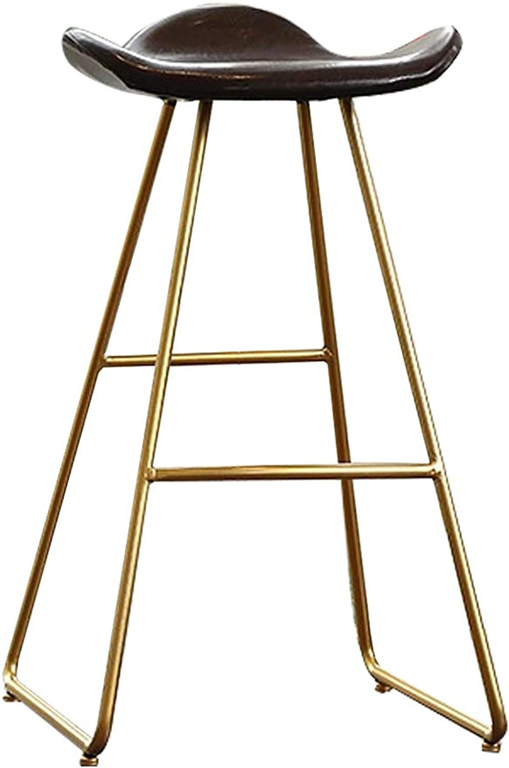 Modern Barstool High Footrest Metal Bar Stool Counter Bistro Pub Breakfast Kitchen Stool Chairs   gold Metal Legs Faux Leather Seat, Brown