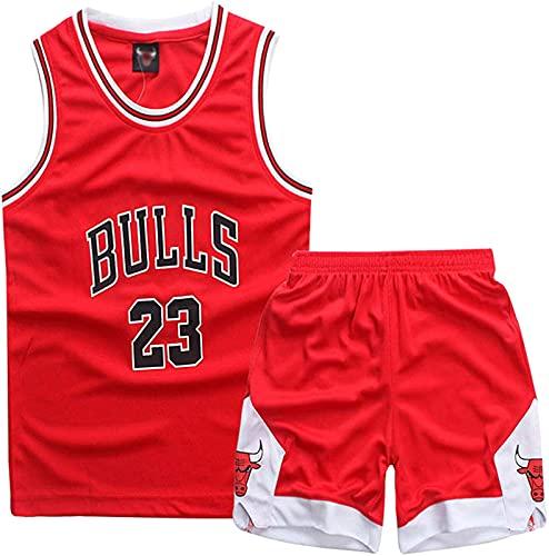 ALXLX Little Boys - Juego de 2 camisetas sin mangas y pantalones para entrenamiento de baloncesto #23 La Lakers transpirable sin mangas, camiseta deportiva, color rojo – 3 años