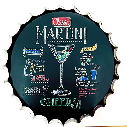 SKYNINE INC Tin Teken Fles Cap Martini Cocktail Cheers Bar Vintage Tin Teken Muurdecoratie voor Bar/Cafe/Home Keuken/Restaurant/Garage/Man Cave/Lounge/Outdoor Decor 13,8 inch.
