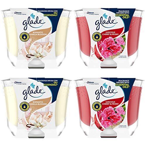 Glade Candele Profumate, Set da 4, con Oli Essenziali, 2 Fragranze Romantic Vanilla e 2 Fragranze Peony & Cherry, Lunga Durata Fino a 60 Ore