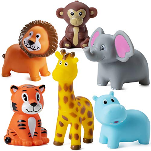 Mini Squeezable Zoo Animals (12 Pack) Vinyl Safari Jungle Animals, Squirt Bath Tub Toy for Kids, For Party Cake Decor, Baby Shower Birthday Party's, Stocking Stuffers, And Decorations