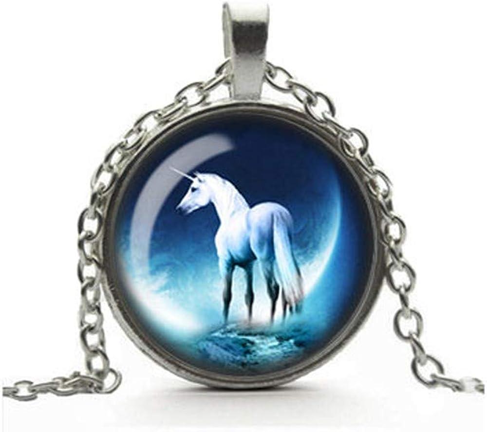 Dandelion White Unicorn Necklace, Moonlit Unicorn Pendant, Glass Cameo Cabochon Tile Necklace Jewellery, Mystical Jewelry