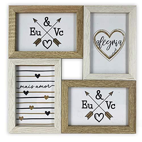 TH Cornice portafoto multipla in legno da parete – 4 foto 10 x 15 cm (Rustico)