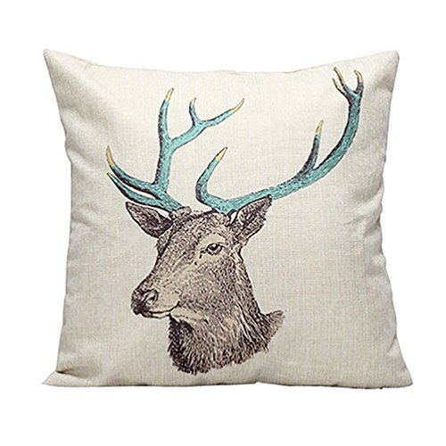 Amesii Retro Vintage Stag Tree Deer Print Linen Throw Pillow Case Cushion Cover Decor - Deer