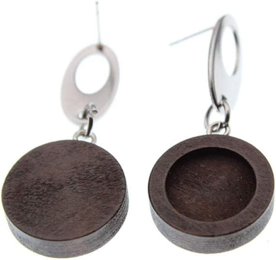 ZFCMIAO 10 Pieces of Blank Stainle cabochon Wooden Bombing free shipping Limited time cheap sale Base Earrings