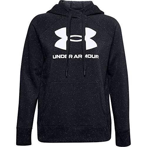 Under Armour Damen Aufwärmoberteil Rival Fleece Logo Hoodie, Black/ White/ (002), M, 1356318-002