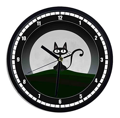 Horloge murale en plastique chat noir dessin