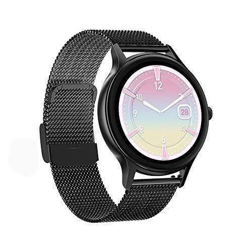 DHTOMC Pantalla de las mujeres reloj inteligente información empuje multi-modo Bluetooth deportes reloj-Negro+acero