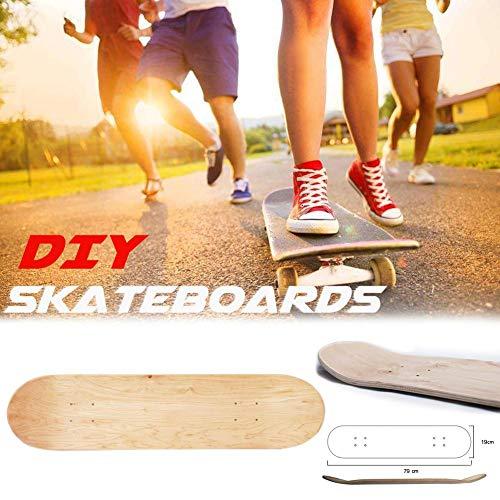 Kitabetty Blank Skateboard Deck, Double Concave Board Design Skateboard Deck, 8-Zoll-8-Lagen Holz Ahorn natürliche Skate Deck für DIY
