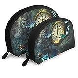 Reloj Mariposa Bolsa de Maquillaje Set para Viajes y Almacenamiento Diario – Forma de Concha práctico Bolsa de cosméticos