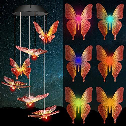 Windspiele für Draußen, Solarleuchten für Außen mit Farbwechsel, Solar LED Gartenbeleuchtung Schmetterling Deko Gartenlampe Wasserdicht Solarlampen für Terrasse Deck Hof Rasen Hinterhöfe Wege