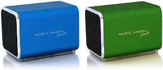 Music Angel Friendz Speaker Twin Pack Bundle for iPhone/iPad/iPod/Mp3/Laptop/Smartphone - Blue/Green