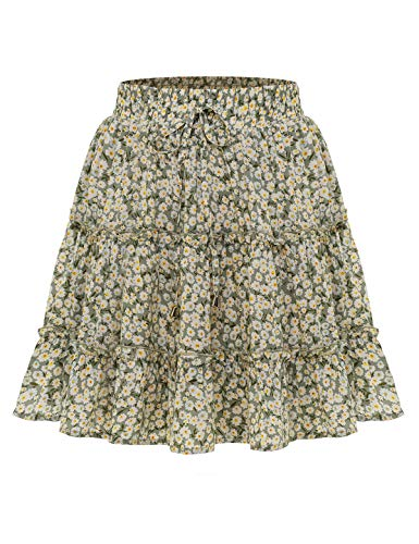 Bbonlinedress Damen Rock Röcke Sommerrock Minirock Kurz Röcke Skirts im Sommer A-Green Flower S