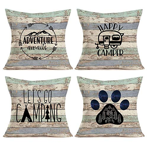 Just1328on Camping Vintage Wood Home Decor Pillowcase Happy Camper Quotes Saying with RV Travel Car Tent Mountain Tree Decorative Throw Pillow Case Cushion Cover 18''x18'' Set of 4