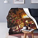 Felpa Manta de Tiro para Todas Las Estaciones Suave Ligero Calentar,Árbol de Navidad Interno con Chimenea y Caja, Cómodo Manta de Cama Edredón de Viaje para Sofá Cama,60' X 80'