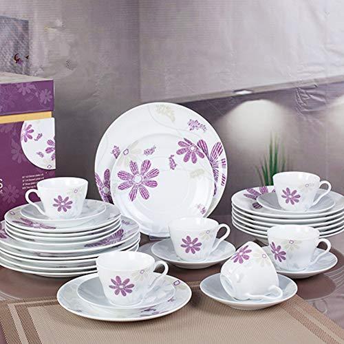 Vajilla30Vajillade cerámica francesa de estilo europeo platos de cerámica creativos simples conjunto racimo de flores del hogar