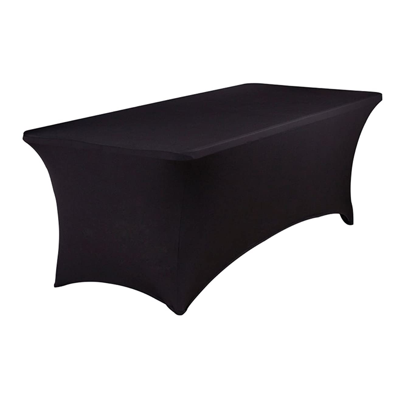 BTSKY 6FT Rectangular Stretch Tablecloth - Spandex Table Cover for 6 Foot Tables Wedding, Banquet, Party, DJ, Tradeshows, Vendors Decoration, Black,