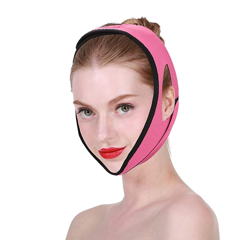 苦難急行する服を片付けるフェイシャルスリミングマスク、フェイスベルト 顔の包帯スリミングダブルチンVラインとフェイシャルケアファーミングスキン超薄型 クラインベルト