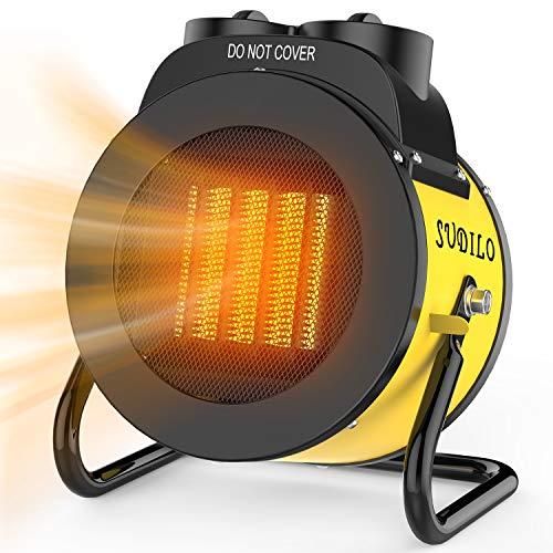 Electric Heater - 3 Modes Portable Heater Fan, 3S Quick Heat Electric Space Heater 1500W, Overheat Protection with Thermostat, Electric Heaters Indoor Use (Yellow)