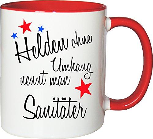 Mister Merchandise Becher Tasse Helden ohne Umhang nennt Man Sanitäter Kaffee Kaffeetasse liebevoll Bedruckt Beruf Job Geschenk Weiß-Rot