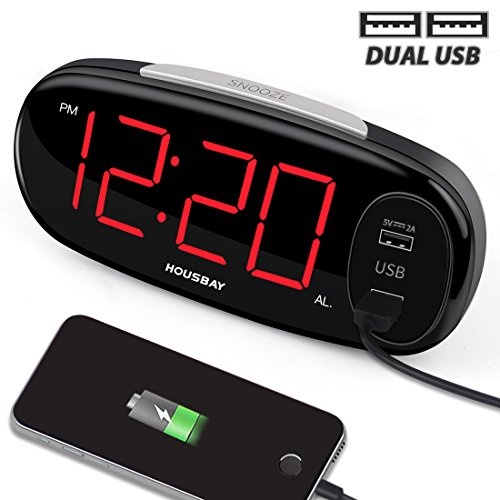 "HOUSBAY Digital Alarm Clock with Dual USB Charger, No Frills Simple Settings, Easy Snooze, 6.5"" Big LED Alarm Clocks for Bedrooms with Dimmer, Outlets Powered"