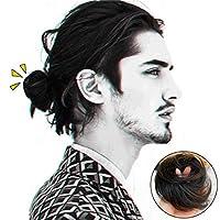 男性のための人間の髪のお団子インスタント弾性髪UpdoChignonsポニーテールエクステンションダークブラウン