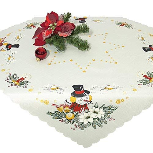 Tischdecke Mitteldecke Merry Christmas, weiße Druckmotivdecke zu Weihnachten, 85x85 cm
