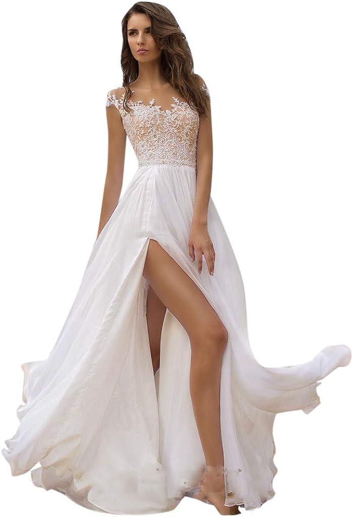 Nihewoo Beach Wedding Dresses for Bride Sleeveless Lace Evening Wedding Dresses Bridal Gowns Bridesmaid Long Dress
