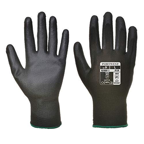 12 paar werkhandschoenen, PU-montagehandschoenen, monteurhandschoenen, nylon, zwart, wit, grijs, maat 7 8 9 10 11 10 zwart