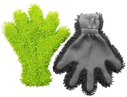 ZOLLNER 2-TLG. Set Autowaschhandschuhe, Mikrofaser, Chenille Korallen