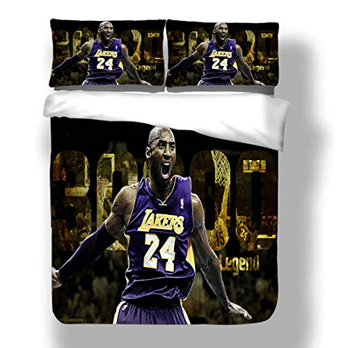 Duvet Cover Set Kobe Los Angeles Basketball Player 24 Bedding Black Mamba Bryant Lakers Super Star Double Team Scoring Table Quilt Coverlet with 2 Pillow Shams Purple Gold Dynasty