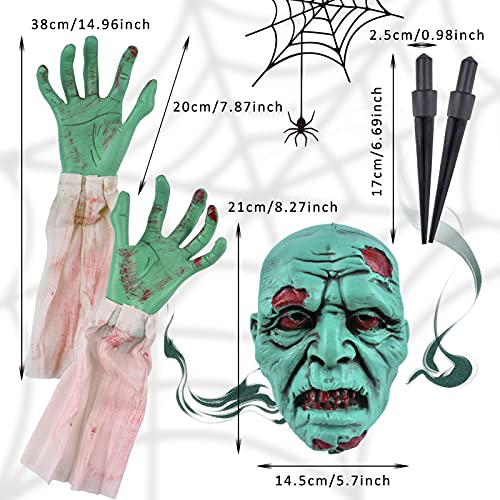 Litviz Halloween Decorations, Scary Zombie Face and Arms Lawn Stakes for Spooky Lawn Yard Graveyard Ground Outdoor…