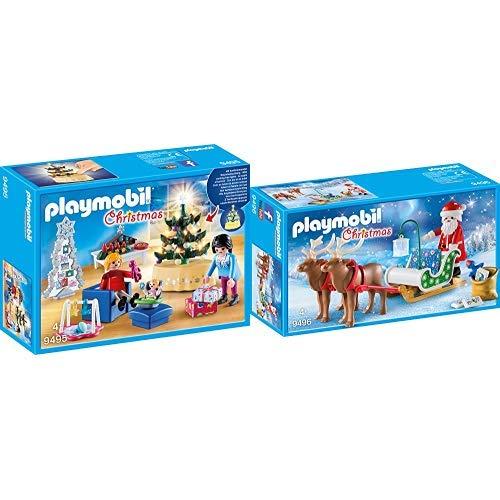PLAYMOBIL 9495 Spielzeug-Weihnachtliches Wohnzimmer, Unisex-Kinder & 9496 Spielzeug - Rentierschlitten Unisex-Kinder