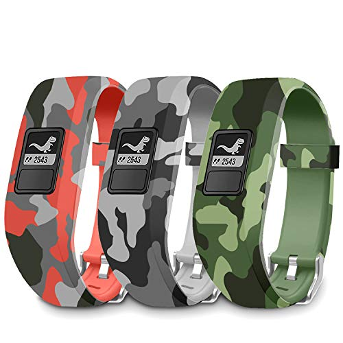 FITLI Compatible with Garmin Vivofit jr, Vivofit 3, Vivofit jr 2 Replacement Band, Accessories Replacement Bands with Secure Clasp Strap Camouflage Watch Bands for Kids Boys