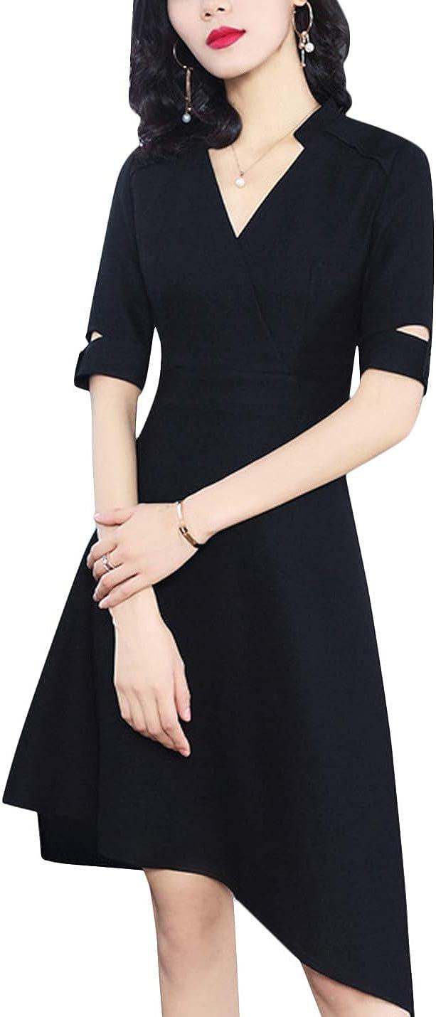 Uaneo Women's V Neck Belted Half Sleeves Slim Fit Midi Dress