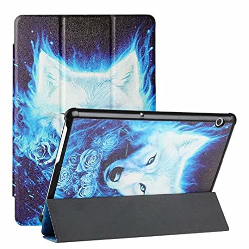 Ufgoszvp Funda para Samsung Galaxy Tab S7 T870/T875/T878 – Funda de piel sintética ultra ligera y delgada con función atril para despertar/sueño, rosa lobo