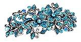 Barrette à cheveux ornée de strass Motif floral Argenté/turquoise 9cm Parfaite pour un mariage