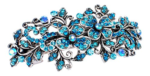 Unbekannt Strass Haarspange Haarschmuck Hochzeit Braut Blume Haarclip Silber Türkis 9 cm